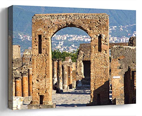 Amymami Wall Art Print Canvas Framed Artwork Home Decor(20x16 in)- Italy Pompeii Architecture Antique Roman