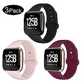 Kmasic Bracelet Compatible Fitbit Versa, Soft Band Silicone de Remplacement pour Fitbit Versa Fitness Smartwatch, Petit, 3 Pack-Noir/Rose Sable/Vin Rouge