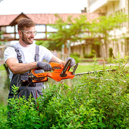TACKLIFE Cordless Hedge Trimmer, 22-Inch Hedge Trimmer, 20V Battery and Charger Included, Rotating Rear Handle, 0.74-in Cutting Gap, with Blade Cover, for Hedges, Shrubs and Bushes Cutting-DHT1A