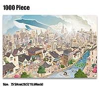 クラシックパズルゲーム 大人のための子供のユニークなカット連動個ウッドジグソーパズル1000ピース漫画コミック風景マルチスタイルのパズル大29.52インチインチby19.68パズル 頑丈で簡単 (Color : C)