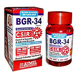 5 packs of BGR-34 TABLETS 100% NATURAL HERBAL Blood Glucose Metaboliser Research product of C.S.I.R by Artcollectibles India