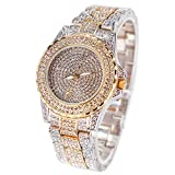 Smalody Round Luxury Women Watch Crystal Rhinestone Diamond Watches Stainless Steel Wristwatch Iced Out Watch with Japan Quartz Movement for Women | Simulated Lab Diamonds (Mix Gold)