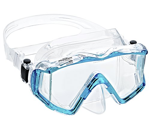 Phantom Aquatics Rapido Boutique Collection Clareza Panoramic Three Window Tempered Glass Lens Scuba Snorkeling Dive Mask (Aqua)