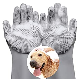 VavoPaw Pet Hair Remover, Gentle Magic Pet Grooming Gloves, Efficient Deshedding Glove for Dogs and Cats with Long & Short Fur, Bathing Shampoo Gloves Brush - Gray