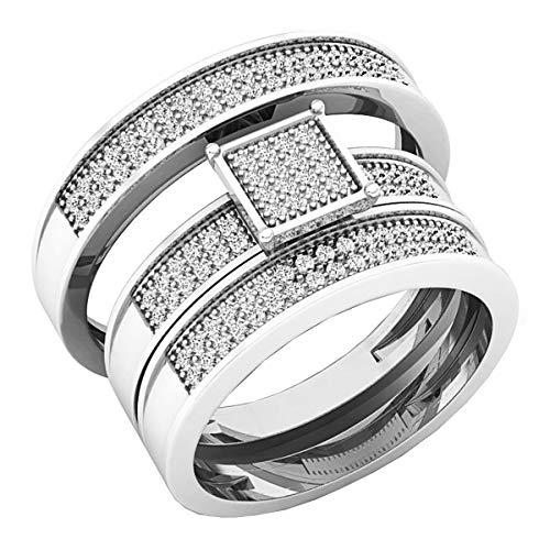 Dazzlingrock Collection - Juego de anillos de compromiso de diamantes redondos de 0,40 quilates para hombre y mujer, de plata de ley