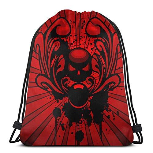 asdew987 Bolsas de cordón con diseño de horror, emblema con adorno y suciedad, unisex, con cordón, bolsa de deporte, bolsa grande con cordón, mochila de gimnasio a granel