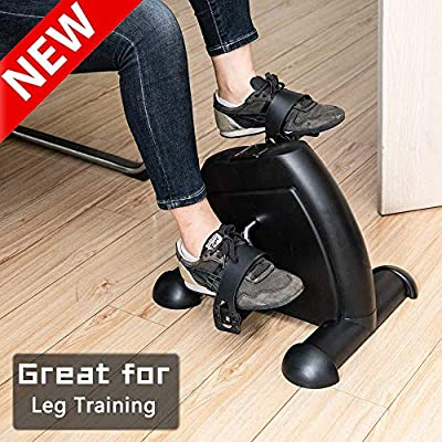 LEEKOUS Best Mini Pedal Exerciser, Portable Exercise Bike Cycle, Stationary Exercise Leg Peddler - Low Impact, Hands and Feet Trainer for Home Use and Under Your Office Desk (Black)