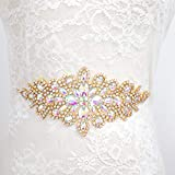 Rhinestone Pearl Applique, Crystal Trim by The Yard, Hotfix Applique, Bridal Trim, Luxury Pearl Rhinestone Applique, Gold Applique
