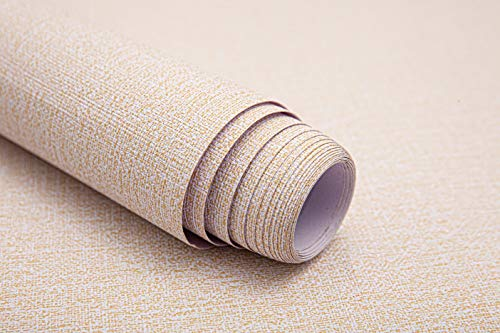 FENGDING Papel Tapiz autoadhesivo de Tela , Papel Pintado Engrosado Que se Despega y Pega, Papel Pintado Tipo Contacto, PVC Impermeable de 17,32 'x 118,11', Beige