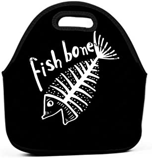 Lunch Bag Insulated Lunch Tote Bag Perfect for Work Picnic fish bone fish skeleton poster logo fish bone fish skeleton poster logo black white