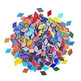 PandaHall 1 libra de mosaico de vidrio transparente azulejos de mosaico de rombo piezas de vidrio manchado mosaico para platos, marcos de fotos, tazas, macetas de mosaico de proyectos de suministro