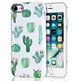 Cactus iPhone 7 Case, iPhone 8 Case, White Green Best Protective Cute Women Girl Clear Slim Shockproof Glossy Soft Silicone Rubber TPU Cover Phone Case For iPhone 7 / iPhone 8