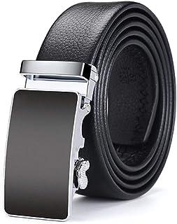أحزمة جلدية فاخرة للرجال ، حزام ذكر معدني أوتوماتيكي (37 بوصة، أسود صافي)