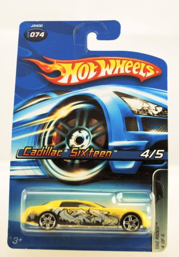 Hot Wheels – 2006 – Tag Falten – 4/5 Cars – Cadillac Sixteen – Yellow Custom Paint – # 074 – Limited Edition – Collectible