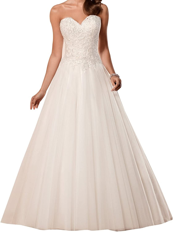 LISA.MOON Women's Sweetheart A Line Lace Applique Backless Tulle Wedding Dress