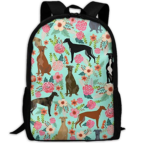 TRFashion Stylish Greyhound Floral Cute Dog Mint Vintage Laptop Backpack School Backpack Bookbags College Bags Daypack Black Casual Leisure Backpack Swagger Bags Rucksack