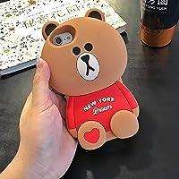 シリコン製 耐衝撃 存在感のある立体キャラクターiPhoneXs Max 動物柄 熊Beer ブラウンスマホケース 韓国 携帯ケース (iPhone6/6s, Brown)