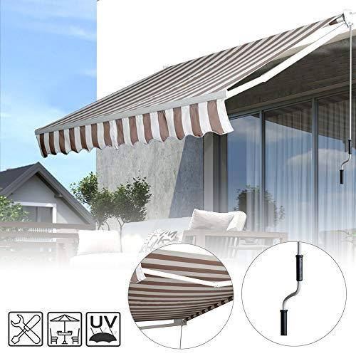 Froadp 300x250cm Gelenkarmmarkise Aluminium Markise Sonnenschutz Abdeckung Klemmarkise wasserdichte Anti-UV Sonnensegel Sichtschutz für Balkon Terrasse(Beige)