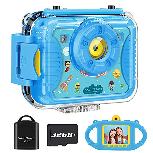 VanTop Junior K8 Kids Camera with 32GB Memory Card, Selfie 1080P Supported Waterproof Video Camera w/ 8MP 2.4 Inch Large Screen, Fill Light, Face Recognition, 4 Games, Extra Kid-Proof Silicon Case