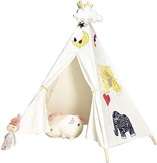 Vobajf Barn leker tält leksaker bomull tipi-tält för barn hopfällbara barn leker husleksaker för baby inomhus lektält (fär...