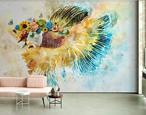 3D Wandtapete Blumen Schmetterling Tier Aquarell Ölgemälde Goldfisch Dekorative Wandmalerei 3D Wandfoto Wand Wand 280X200cm