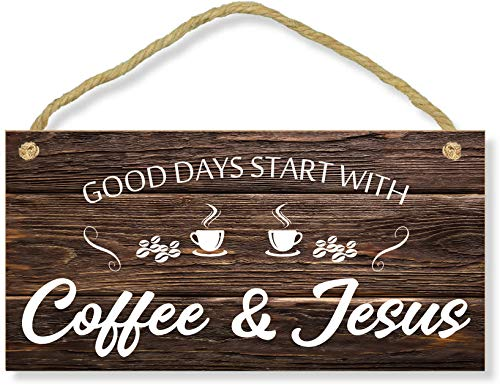 """CAHUNXIE Coffee Sign - Kitchen Coffee Bar Decor - Farmhouse Kitchen Plaque 5""""x10"""" Rustic Wood Hanging Plaque Wall Art Office Decoration Good Days Start with Coffee & Jesus"""