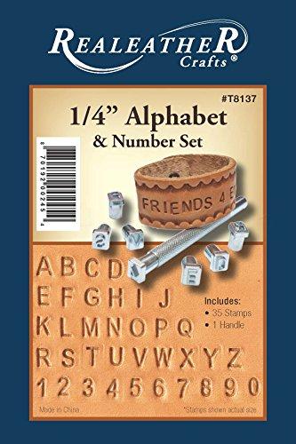 Realeather Crafts Metall Alphabet und Zahlen Stempel-Set 1/4Zoll