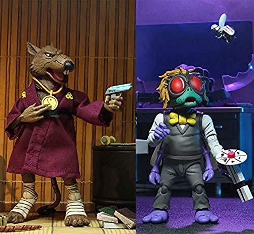 NECA - Figurine TMNT Tortues Ninja Cartoon - 2-Pack Splinter & Baxter 18cm - 0634482541586