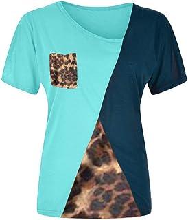 XWLY Women T-Shirt Long Sleeve Leopard Splicing Comfortable Soft Blouse Women Sexy V-Neck Chic Elegant Women Shirt Go to W...