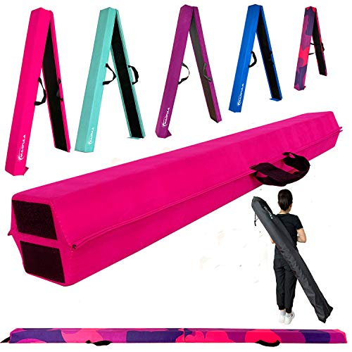 Marfula 6 FT / 8 FT / 9 FT Gymnastics Balance Beam Foam Folding Floor Balance Beam - Extra Firm - Suede Cover - Anti Slip Bottom with Carry Bag for Kids/Adults Home Use (Pink, 6 FT)