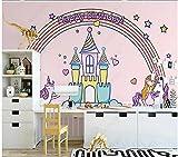 Fotomurales Decorativos Pared Vinilos Decorativos Papel Fotografico 3D Dibujado A Mano Castillo Unicornio Arcoiris Habitación Infantil Papel Pintado Cuadros Habitacion Bebe Posters Mural Pared