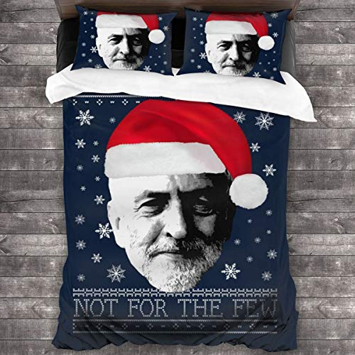 KUKHKU Jeremy Corbyn For The Many Christmas Knit 3 Pieces Bedding Set Duvet Cover 86″x70″,Decorative 3 Piece Bedding Set with 2 Pillow Shams