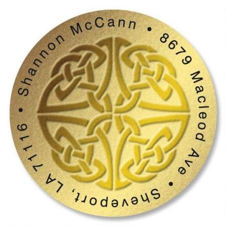 Personalized Celtic Knot Round St. Patrick's Day Address Labels - Set of 144 Self-Adhesive, Flat-Sheet Irish labels