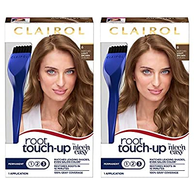 Clairol Root Touch-Up Permanent Hair Color, 6 Light Brown, 2 Count