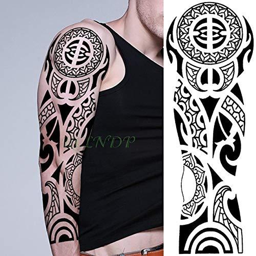 tzxdbh 3pCS-Etiqueta engomada del Tatuaje a Prueba de Agua Totem Geometry Brazo Completo Tamaño Grande Manga Tatuaje Tatuaje Bordado Tatuaje Hombre Ms 3pCS- ZASUS-12