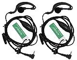 SUNDELY 2 X G Shape Clip-Ear Ear Hook Headset Earpiece Sportclip Clip-on Headphone PTT Mic Braided Cord for Garmin Rino Radio Walkie Talkie 110 120 130 520 520HCx 530 530HCx 610 655 1-pin Jack
