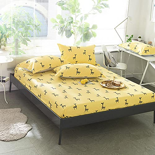XGguo Protector de colchón Acolchado - Microfibra - Transpirable - Funda para colchon estira hasta Sábana Estampada de una Sola Pieza cotton-15_120 * 200 + 25cm