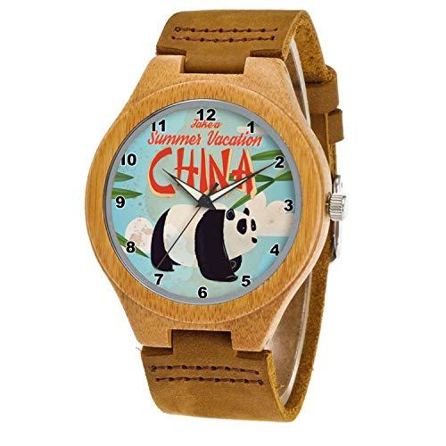 Uhr Armbanduhr Bambus Holz Uhr Naturholz Echtes Leder 261.Vintage China Panda Vacation Poster UhrUhr Armbanduhr Für Frauen Männer Paar
