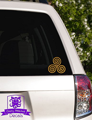 Overly Attached Decals Celtic Triple Spiral Vinyl Decal for Car Truck Glass Window Laptop Electronics - 4' Gold Metallic