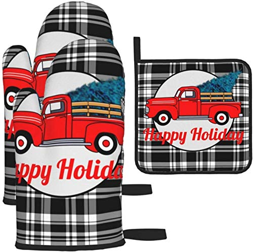 Vintage Red Pick Up Truck Pine Tree Holiday FunKitchen Gloves Heat Resistant Oven Mitts and Pot Holders 3Pcs for BBQ Cooking Baking