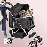 Dog Stroller Pet Stroller Cat Stroller 4 Wheels Pet Jogger Stroller 25lbs Capacity Travel Lite...