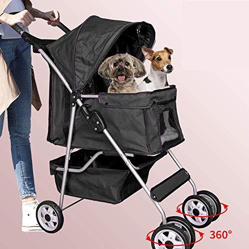 Dog Stroller Pet Stroller Cat Stroller 4 Wheels Pet Jogger Stroller 25lbs Capacity Travel Lite Foldable Carrier Strolling Cart W/Cup Holders Removable Liner for Medium and Small Dog,Black