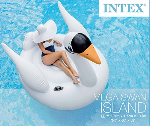 Intex cigno gigante galleggiante, isola galleggiante, materasso ad aria a forma di animale, 194cm