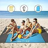 HAMSWAN Stranddecke 210 x 200 cm, Picknickdecke wasserdichte, Sandabweisende Campingdecke 4 Befestigung Ecken, Ultraleicht kompakt Wasserdicht und sandabweisend -
