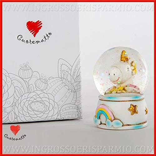 Ingrosso e Risparmio Cuorematto – Bola de cristal con nieve y unicornio de resina con arco iris, recuerdo solidario para nacimiento, bautizo, con caja de regalo incluida (con caja blanca)