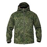 Memoryee wasserdichte Herren Softshelljacken für Herren Warme militärische Taktische Hoodies Camouflage Coat/Tarnung grün/3XL