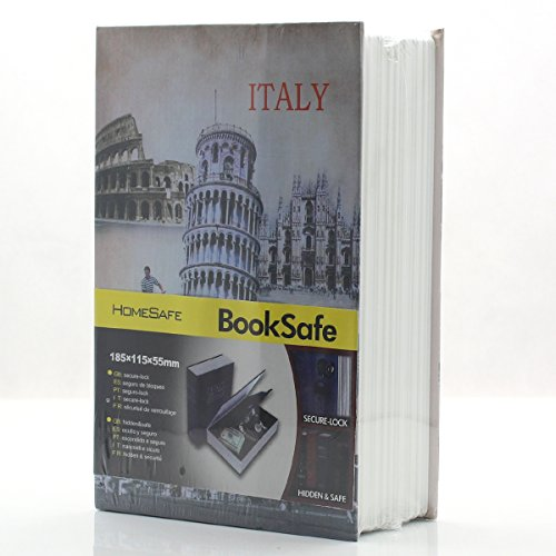 Riipoo M Size Book Diversion Hidden Book Safe with Strong Metal Case Inside and Key Lock, ITALY Leaning Tower, Size:180 x 115 x 55 MM