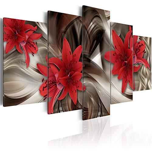 XXQBH 150 * 100 CM Flores marrones y naranjas lirios oscuros Cuadro de pintura al óleo de con estampado moderno de 5 paneles, Cuadros de decoración, lienzo, arte de pared para sala de estar