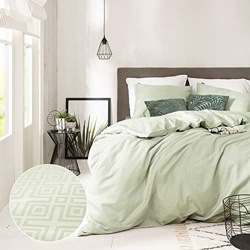 Dekbedovertrek Endless Shapes - Mint Groen - Eenpersoons 140x200 CM - Percal Katoen/Satijn, Groen - Presence - Incl. 1 Kussensloop van 60x70 CM
