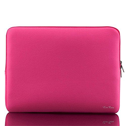 Cerobit Zipper Soft Sleeve Bag Case for 15-inch 15' 15.6' MacBook Pro Retina Ultrabook Laptop Notebook Portable_Color:Pink